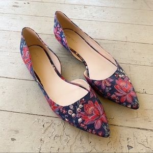 None West floral navy metallic flats 11